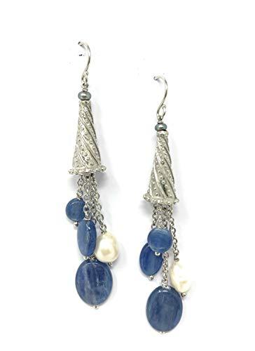 Pendientes de plata 925 rodiada, hechos a mano con cianitas naturales y perlas cultivadas en agua dulce.