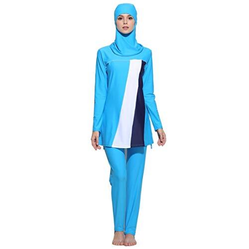 Weimilon Muslim Bademode Fmuslim Bademode Frauen Schwimmen Islamische Badeanzug Beachwear Stilvolle Unikat Kleidung Für Mädchen Hijab (Color : Blau, Einheitsgröße : L)