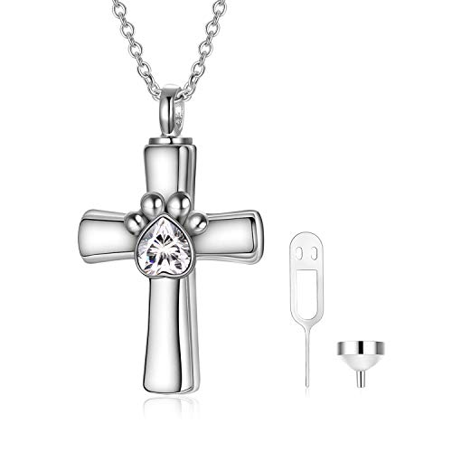 Dog Pet Urn Necklace for Ashes Sterling Silver Cremation Jewellery with Crystals from Swarovski, Keepsake Memorial Gifts for Women