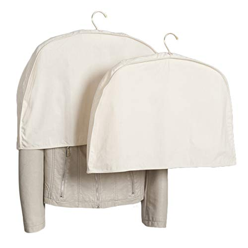 Foster-Stephens Shoulder Covers for Clothes  Acid-Free Muslin White Shoulder Protectors for Closet Storage  Clothes Hanger Covers 2 Pack