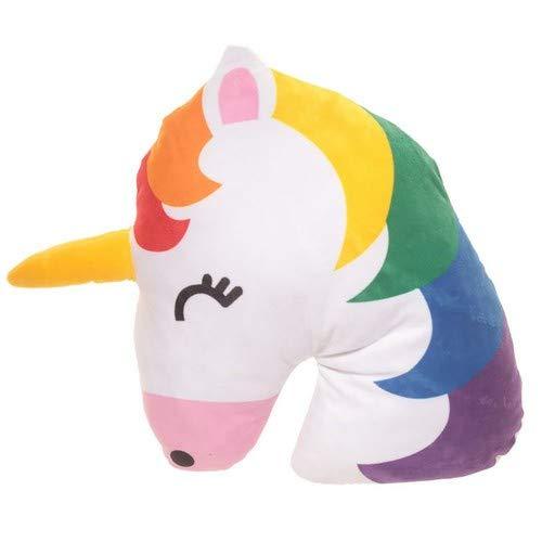 PUCKATOR - Cojín Emoticono de Unicornio, poliéster, arcoíris, Talla única