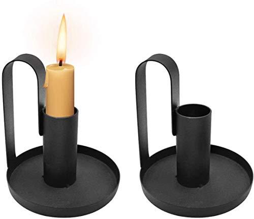 NVT 2 uds candelabro de Hierro Negro Mate candelabro Decoraciones de Mesa Vintage para Comedor Boda Halloween Navidad