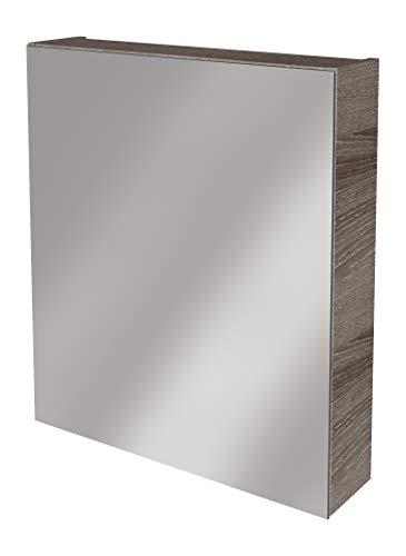 Lanzet Spiegelschrank L0 / Badschrank mit Spiegel/Maße (B x H x T): ca. 60 x 68 x 14,5 cm/Möbel fürs Bad oder WC/hochwertiger Schrank mit 1 Tür/Türanschlag Links/Korpus: Braun dunkel