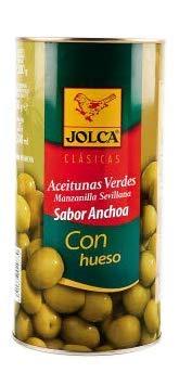 Jolca - Grüner Oliven Geschmack Sardelle mit Stein - Sorte Manzanilla de Sevilla - Ideal für Tapeo - 750 Gramm