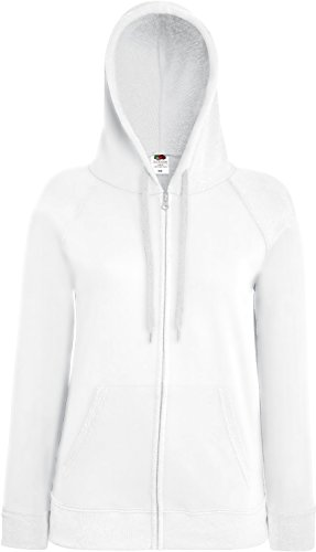 Fruit of the Loom Lady-Fit Lightweight Hooded Sweat Jacket 62-150-0 XL,White