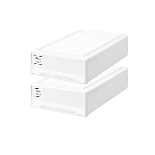 【まとめ買い2個セット】天馬 Fits フィッツケース スリムL (幅44x奥行74x高さ18cm) ホワイト   衣装ケース 引き出し 収納ボックス 押入れ収納 日本製 プラスチック スタッキング 衣類ボックス MONO モノ 積み重ね