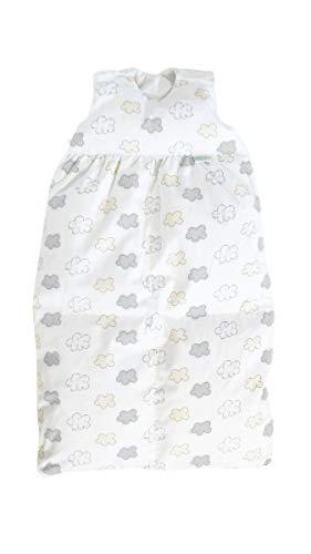 Odenwälder BabyNest Daunen-Schlafsack/Kinderschlafsack/Babyschlafsack waschbar/Winterschlafsack atmungsaktiv/leichter Daunenschlafsack, Größe:70, Design:Wolke silber