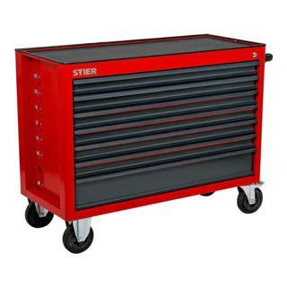 STIER Werkstattwagen XXL, leer, extra breit, 7 Schubladen für mehr Stauraum in der Werkstatt, in Rot, Werkzeugwagen leer, auf Rollen,