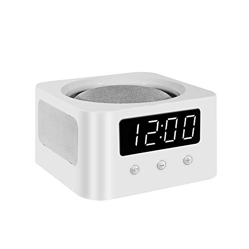 Universal Bedside Clock Stand and Docking Station for Your Smart Speakers - Google Home Mini, Amazon Echo Dot (All Generations), etc. - White