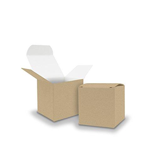 itenga 10x Würfelbox aus Karton 6,5x6,5cm braun kleine Schachtel als Gastgeschenk Geschenkbox zum Befüllen (Hochzeit Adventskalender Taufe Geburtstag Geschenk Kommunion)