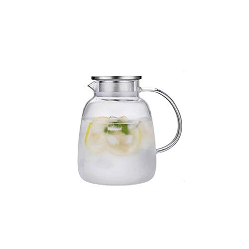 Karaffe Glas Wasser-Topf mit Edelstahl-Sieb Mlilk Krug Glaskrug Trinken Kessel Wasserflasche Tumbler-Glas 1.7L for Privatanwender wasserkrug (Color : 2000ml)