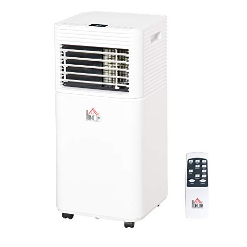 HOMCOM 7000 BTU 4-In-1 Compact Portable Mobile Air Conditioner Unit Cooling Dehumidifying Ventilating w/Fan Remote LED Display 24 Hr Timer Auto Shut Down Home Office Summer