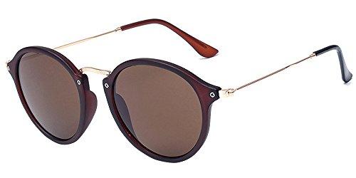 BOZEVON Retro Metall Cateye Sonnenbrillen - Vintage Rund Sonnenbrille für Damen & Herren Braun-Braun