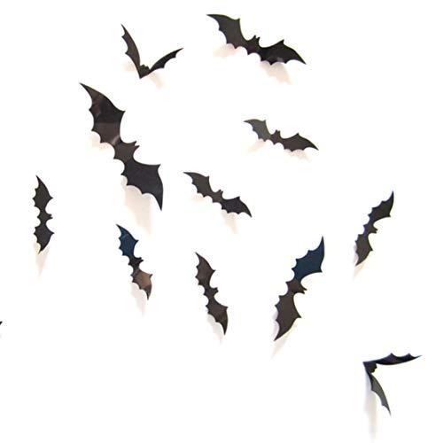 Koly 12 pcs Halloween chauve souris noire 3D Stickers Muraux PVC Vitres Decoration Autocollants DéCoration Salon Fenêtre De La Chambre pour Fête d'Halloween