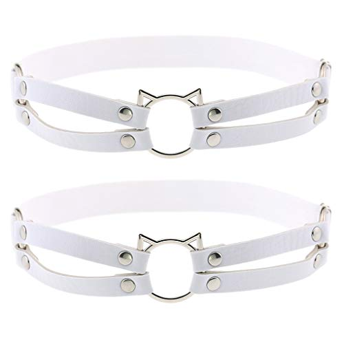Women Girl Leather Hollow Cat Garters Punk Rock Rivet Leg Elastic Garter Leg Ring Anti-Slip Cosplay Harness 2pcs White