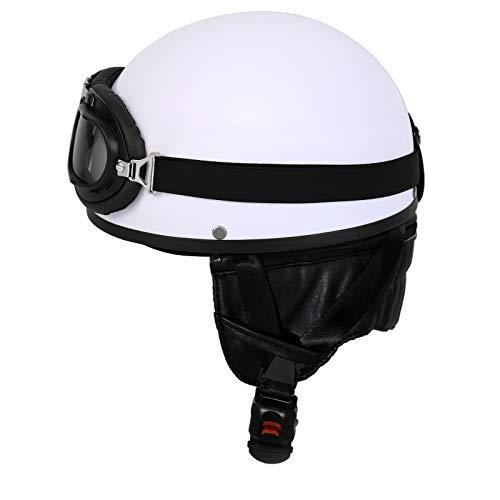 Samger Oldtimer Motorradhelm Erwachsener Helm mit Fliegerbrille (Weiß, M)