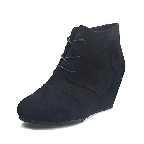 Minetom Stiefel Und Stiefeletten Damen Stiefeletten Chelsea Boots Mit Keilabsatz Profilsohle Plateau Schuhe Komfortable Casual Reißverschluss Schnürsenkel Stiefel B Schwarz 42 EU