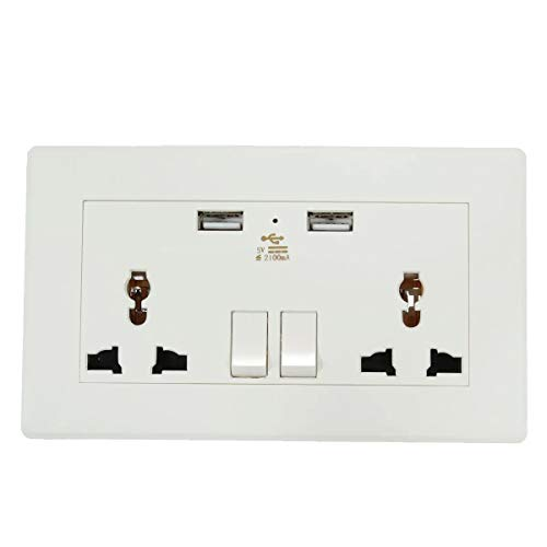 Eléctrica de doble puerto USB placa de adaptador de salida del cargador de la estación de toma de corriente alterna de alimentación de 5V 2.1A