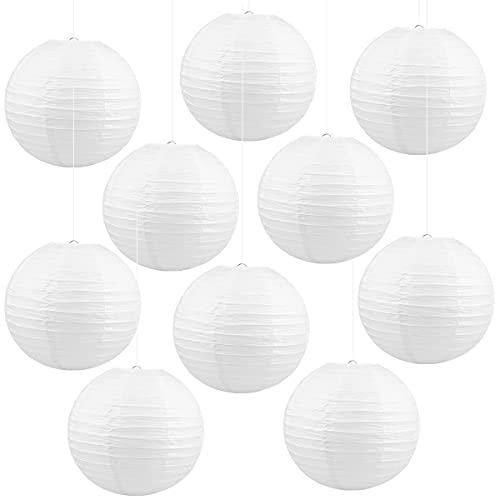 Jangostor 10 PCS weiße Papier Laterne Lampions 30 cm runde Lampenschirm Papierlaterne, Papierlaterne für Hochzeiten, Geburtstage (Weiß10)