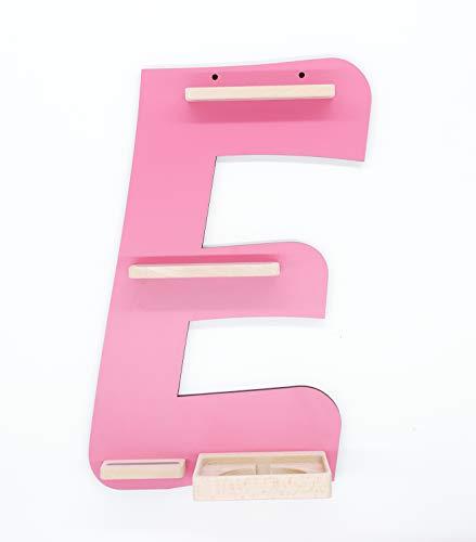 """BOARTI Kinder Regal Buchstabe """"E"""", small in pink - geeignet für die Toniebox und ca. 26 Tonies - zum Spielen und Sammeln"""