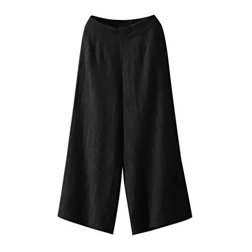 Vrouw effen elegante damesbroek met wijde pijpen katoen linnen casual broek breed elastische taille palazzo culottes broek vrouwen joggen yoga vrije tijd broek zomer kleding