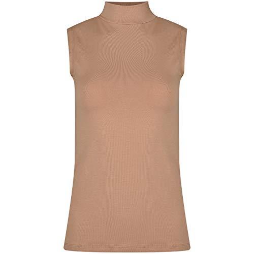 Evoni Camiseta sin mangas con cuello medio | Camiseta básica para mujer con cuello alto | algodón y elastano | agradable camiseta de verano marrón claro XL
