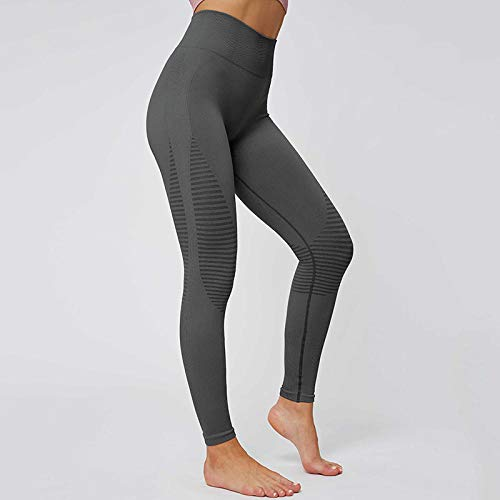 B/H Leggings De Yoga Control,Leggings sin Costuras de Cintura Alta Sport Mujer Fitness Yoga Pants-Grey_M,Mallas Fitness Push Up para