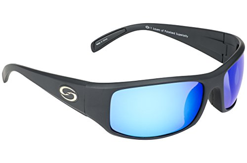 Strike King Optics Polarized SG Okeechobee Sunglasses, Matte Black Frame/White/Blue Mirror Gray Base...