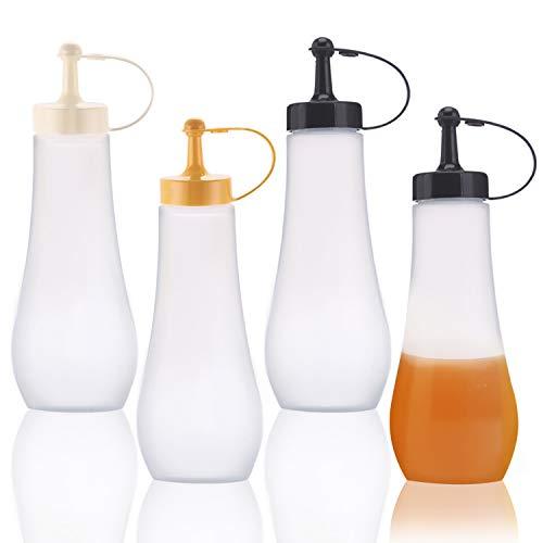 ZJW 4 Saucenflasche Squeeze Flasche Quetschflasche mit Kappe für Gewürze Ketchup Senf Essig Saucenöl für Home & Restaurant