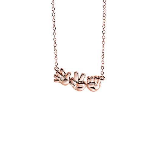 HUKJ Collar Piedra-Papel-Tijeras Mujer 520 Regalo Plata Esterlina, Pareja S925 Cadena De Clavícula De Plata Esterlina