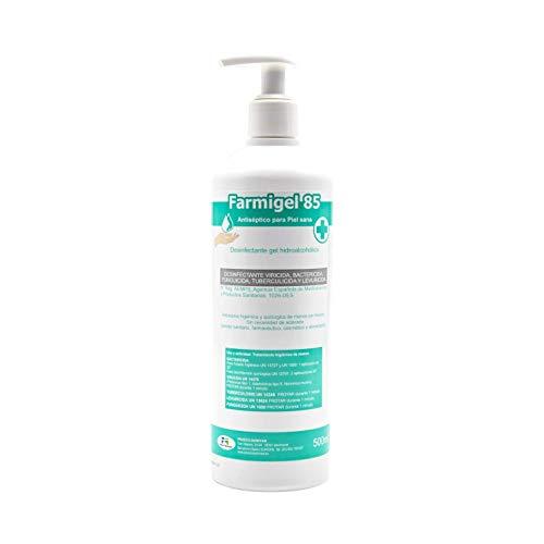 Proeco Químicas Farmigel 85 Gel Desinfectante De Manos Hidroalcoholico Viricida, Bactericida, Fungicida, Tuberculicida Botella De 500Cc Con Dosificador 500 g