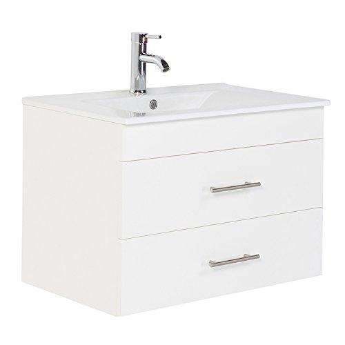 Badezimmermöbel Waschtisch 75cm mit Unterschrank in matt weiß ● 2 Softclose Schubkästen ● Keramik-Waschbecken, Edelstahl Griffe ● Made in Germany