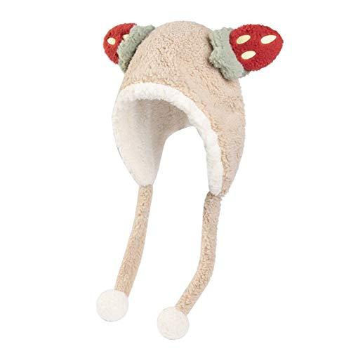 47-B Sombrero, Invierno Peluche Toalla con Capucha, Adolescente Amor Sombrero De Fresa, Cuello Cálido Creativo (Color : Beige)