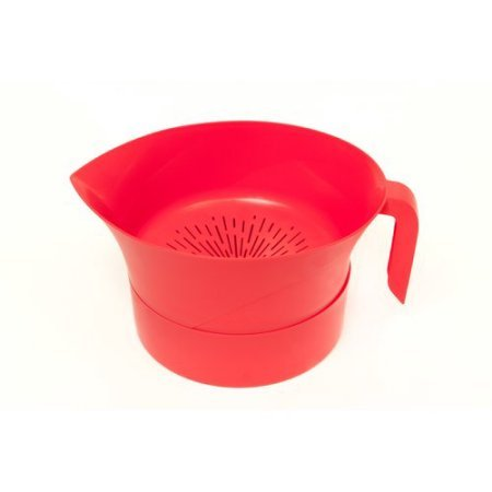 Red Easy Greasy Plastic Strainer with Handle -3 Pc Colander Set - Ground Beef Grease Strainer (Red)