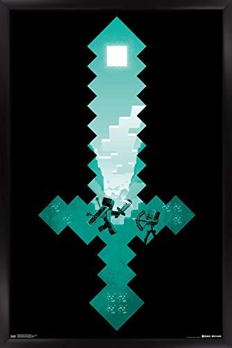 Trends International Minecraft - Diamond Sword Wall Poster, 22.375' x 34', Black Framed Version