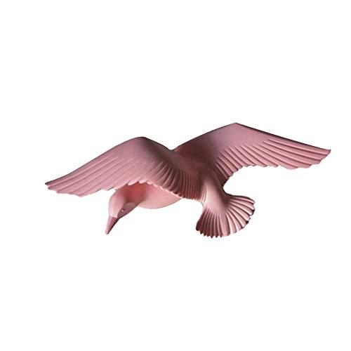 DIAOSUJIA sculptuur, nautische 3D roze hars Seagull vogels sculptuur kunsthandwerk kunst aan de muur hangende decoratie plaatje wandafbeeldingen voor cafe pub bar
