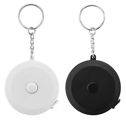 Edtape 黒と白のキーホルダー 巻尺 ワンタッチ 巻取りボタン 自動巻きとり 軽量 薄型 コンパクト クラフト メジャー 巻き尺 ロールメジャー ポータブル テープ 定規 尺 両面目盛 150cm/60inch ロータリーメジャー オートメジャー 裁縫