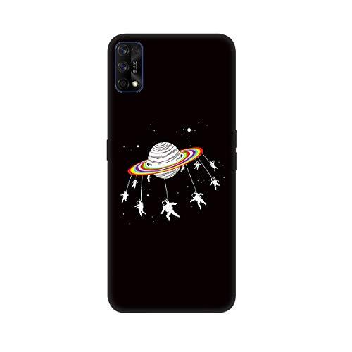 ChoosEU Compatible con Funda Realme 7 Pro Silicona Negro Dibujos Creativa Carcasas para Chicas Mujer Hombres TPU Case Antigolpes Bumper Cover Caso Protección - Astronave