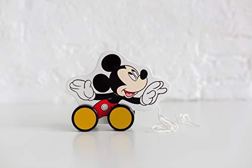 Disney- Jouet en Bois à Tirer Mickey Mouse, TY004, Multicolore