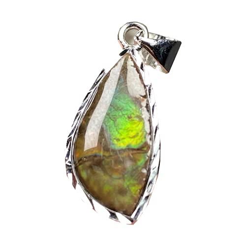 Natural verde amonita amolita colgante joyería para mujer hombre curación suerte piedra cristal 18x10mm perlas plata piedra colgante AAAAA