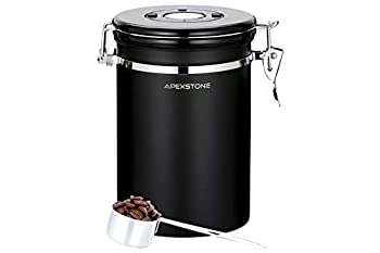 Apexstone Coffee Canister Black Large,Airtight Coffee Canister With Scoop 22 oz ,Coffee Canister Stainless Steel Storage Container with Date Tracker