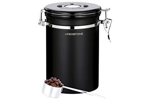 Kaffeedose, schwarz, groß, luftdicht, Kaffeedose mit Schaufel (625 ml), großer Edelstahl-Lebensmittelbehälter, Kaffeedose, Edelstahl-Vorratsbehälter mit Datums-Tracker, CO2-Ventil
