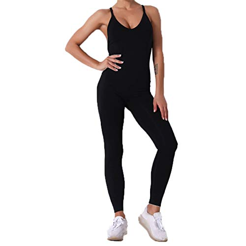 Conjunto de Chándal Mujer Traje de 2 Piezas, Atractivo de una pieza de la yoga de las mujeres del mono de polainas sin espalda bodycon del vendaje Romper Butt Lift Pantalones largos de entrenamiento P