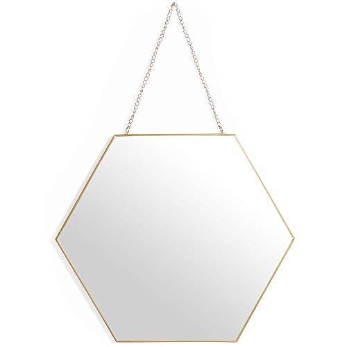 Beautify Sechseckiger Spiegel – Antiker Messing Look – Mit Kette zum Aufhängen – Vintage Style