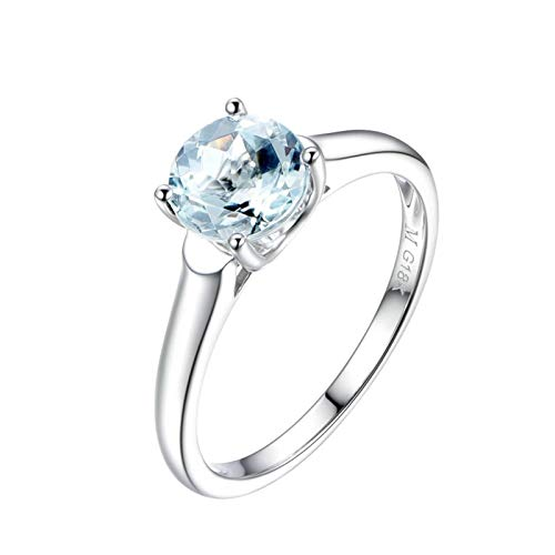 Dreamdge Women Wedding Band 18K Gold Solitaire Ring, Round Blue Sapphire Ring 1.1ct Size H½