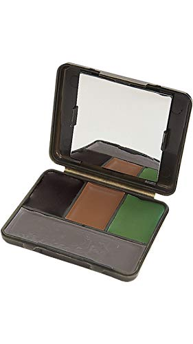 Allen Company Four Color Camo Face Paint Compact with Mirror - Black, Brown, Olive