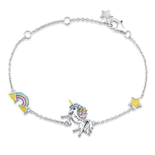 FANCIME Pulsera con Unicornio de Plata de Ley 925 Chapada Oro Blanco y El Arte del Esmalte Joyería para Mujeres Niñas - Longitud Cadena: 17 + 3 cm