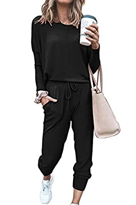 Pink Queen Women's 2 Piece Loungewear Set Outfits Long Sleeve Pullover Casual Lounging Wear Sweatsuits (Black, X-Large)