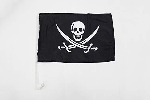 AZ FLAG AUTOFAHNE Pirat Jack Rackham 45x30cm - Piraten Totenkopf AUTOFLAGGE 30 x 45 cm Auto flaggen