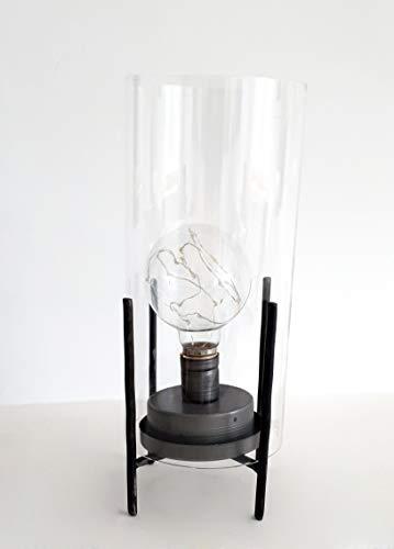 takestop® Led-lantaarn, glas, metaal, tafellamp, industrieel modern, zonder draad, wit